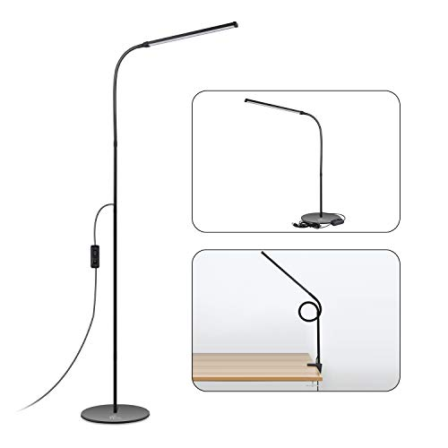 ACCEWIT LED Floor Lamp 8W Standing Lamp with Warm or Natural White 72 Eye-Caring LEDs for Living Room Included Adapter and USB