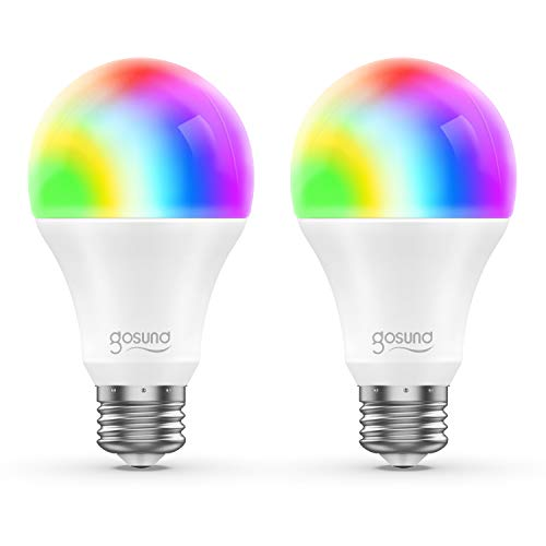 Smart WiFi LED Light Bulb A19 800Lm Gosund, Multi-Color, Dimmable, No Hub Required, APP Remote Control Home Night lamp, Work with Alexa & Google Assistant (2 Pack) (Watt Traditional Accent Lamp 40)