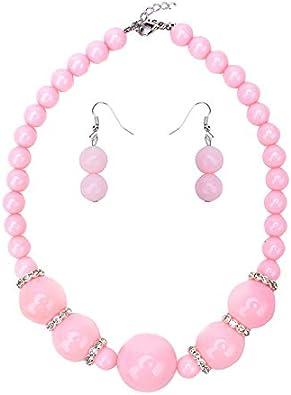 BJINUIY Exquisita joyería de Perlas con Perlas de Diamantes, Conjunto de aretes de Collar, Colores Brillantes, te Hacen más Brillante y Encantador Rosa