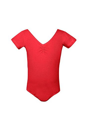Girls Short Sleeve Scoop Neck Leotard - 2 (S (4-5 Years), R..