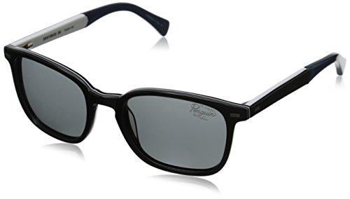 Designer Laminate (Original Penguin Men's The Skinny Polarized Sunglasses, Black Grey White Laminate,Grey & Smoke, One Size)