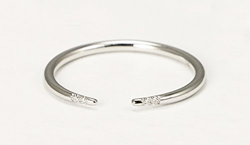 14k White Gold Diamond Wedding Band, White Gold Diamond Stacking Ring by Ice on Fire Jewelry