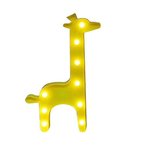 Giraffe Marquee Light GUOCHENG Decor Light LED Night Light Wall Decor Battery Operated Table Lamps for Party Children Kids Bedroom Lighting Decoration Birthday?Christmas Gifts for Kids(Yellow Giraffe)