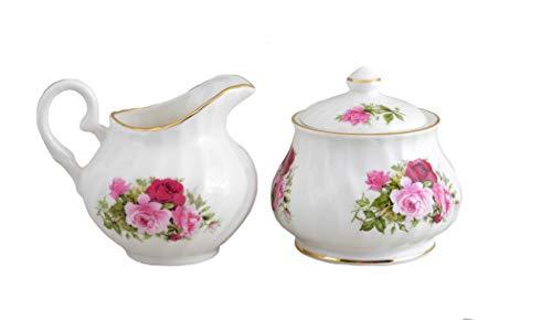 Summertime Rose sugar and creamer set - Fine English Bone China