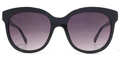 French Connection Incrustation métallique ronde en or noir, les lunettes de soleil FCU653 Gradient Grey