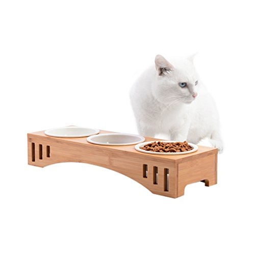 (Petacc Elevated Pet Bowl Raised Dog Bowl Cat Food Feeder, Combined with Bamboo Stand and 3 Ceramic Bowls)