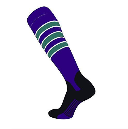 (TCK Elite Baseball Knee High Stirrup Socks (D, 5in) Purple, White, Teal, Black (M))