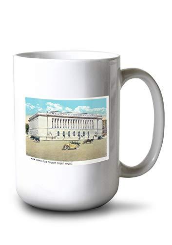 Lantern Press Cincinnati, Ohio - New Hamilton County Courthouse Exterior (15oz White Ceramic - House Ohio Court Cincinnati