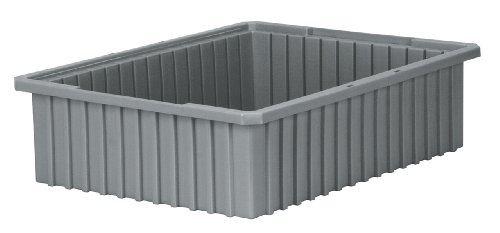 Akro-Mils 33226 Akro-Grid Slotted Divider Plastic Tote Box, 22-3/8 -Inch Length by 17-3/8-Inch Width by 6-Inch Height, Case of 4, Grey