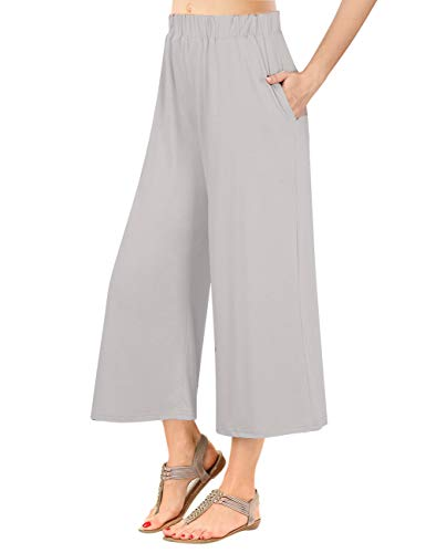 GlorySunshine Women's Elastic Waist Solid Palazzo Casual Wide Leg Pants with Pockets (XL, Light Gray)