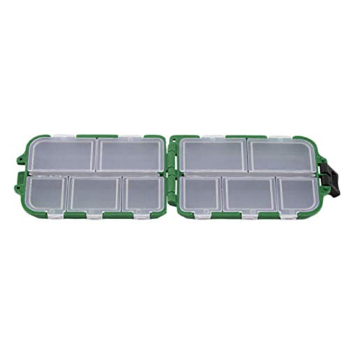 YunZyun Fishing Lure Bait Tackle Waterproof Storage Box Case With10 Compartments, Tackle Fishing Kit Gear Box Hooks Bobbers Starter Equipment Accessories for Bait (Green)