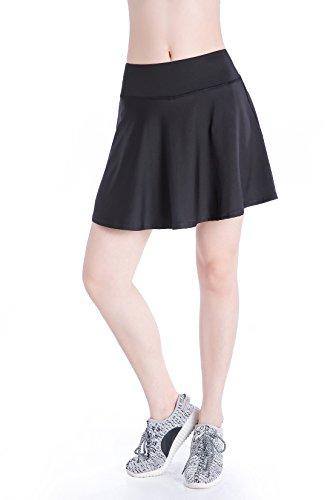 Annjoli Womens Running Skorts Golf Tennis Workout Skirt (XL, Black(Pleated))