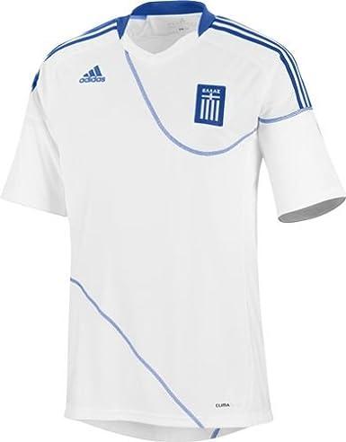 adidas-Camiseta de fútbol de la selección de Grecia GRE casa de Manga Corta, Color Blanco/Azul eléctrico, Color - Blanc/Bleu Electrique, tamaño XXL: Amazon.es: Ropa y accesorios