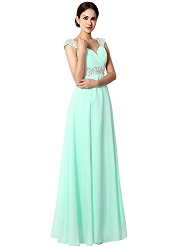 Sarahbridal Juniors Long Prom Dress Chiffon Beaded Sequin Bridesmaid Gowns with Cap Sleeve Mint US26