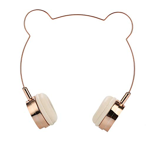 SOMOTOR Bluetooth Headphones Over Ear Wired Panda Headphone Wireless Headset, Bear Ear, Cute and Fashionable Style Rose Gold Built-in Mic Wired, for Girls