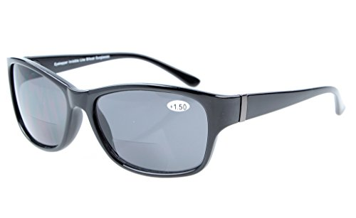 Eyekepper Bi-Focal Sunshine Readers Fashion Bifocal Sunglasses Black Frame/Grey Lens ()