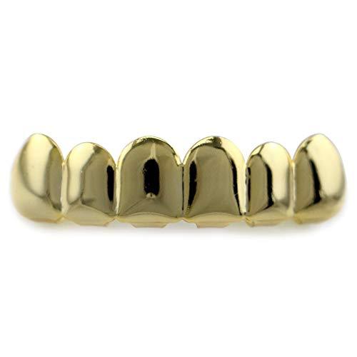 Unitedheart 6 Plating Shiny Grillz Teeth Electroplate Copper Hip Hop Teeth Top & Bottom Teeth Teeth Grill for Christmas Halloween]()