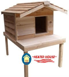 Large Heated Cat House with Platform and Extended Roof