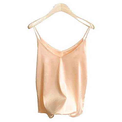 (Van Royal Womens Camisole Tops Tees Tank Ladies Cami Tops Soft Satin Sexy V Neck Crop Top Elegant (XL, Champagne))