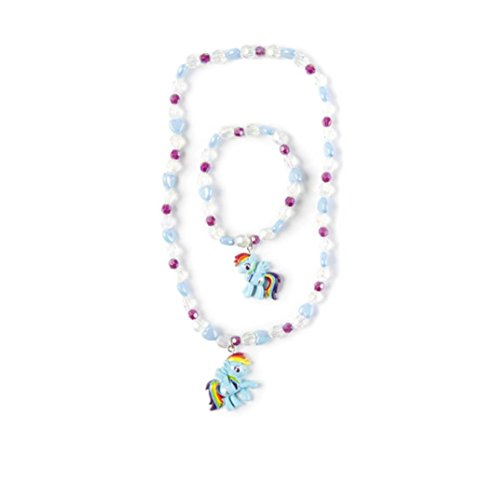 My Little Pony Hearts and Crystal Beads Necklace and Bracelet Set - Rainbow Dash
