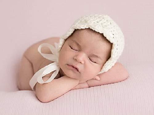 444755778 Baby Bonnet, Newborn Girl Crochet Hat, Photo Prop, Off White Cream