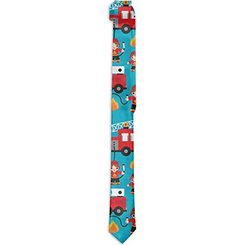 (NEWINESS Men's Classic Skinny Tie Fashion Novelty Polyester Silk Fire Truck and Hero Boys Car Necktie for Dinner Evening Date Wedding Party Dress)