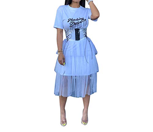 Women Sexy Graphic Sequin Short Sleeve Tee Shirt Dress Solid Round Neck Letter Print Rhinestone Ruffle Pleated Tulle Sheer Mesh Fit and Flare A Line Skater Midi Dress Cocktail Party White, Medium