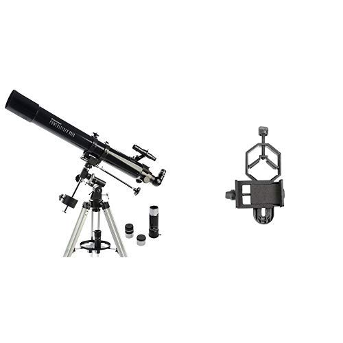 Celestron PowerSeeker 80EQ Telescope with Basic Smartphone Adapter 1.25'' Capture Your Discoveries by Celestron