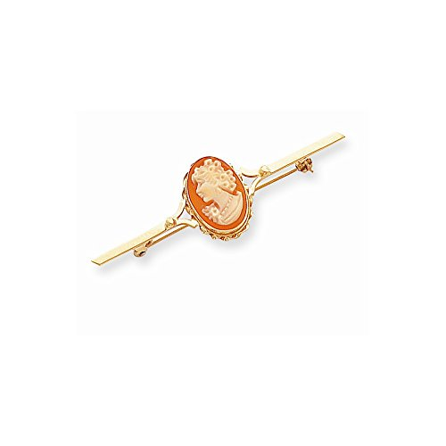 IceCarats® Designer Jewelry 14K 10X14mm Shell Woman Cameo Pin