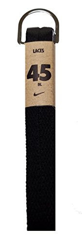 Nike Unisex Replacement Shoelaces Flat String Cords Shoe Laces (Black, 45) - Replacement Shoelaces