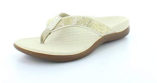 Vionic Women's Tide Sequins Toe Post Sandals - Ladies Flip Flop Sandals with Concealed Orthotic Arch Support Gold 9 M US