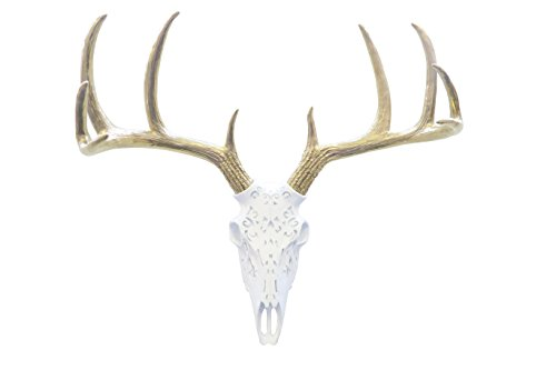 Near and Deer Faux Taxidermy Native American Carving Deer Skull Wall Mount ()