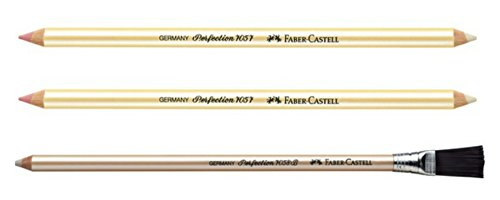 Perfection Eraser Pencil for drawings supplies, coloring, artist supplies - Double End + with Brush end - 3 Pack by West Design