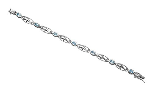 Wild Things Sterling Silver Framed Dolphins Bracelet w/Faceted Aqua Crystal Stones