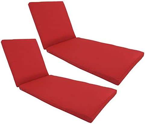 kingrattan.com Made in USA Outdoor Patio Chaise Lounge Cushion 24 W x 76 L Sunbrella Canvas Jockey Red 5403 2-Pack