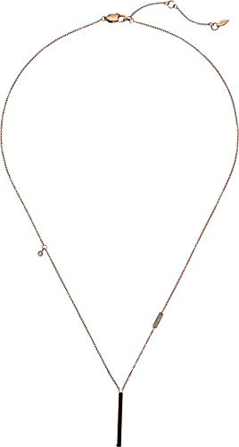 Rose Pendant Fossil (Fossil Women's Rose Gold-Tone Stainless Steel Glitz Necklace, One Size)