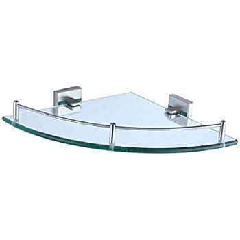 Wall Mouned Bathroom Corner Glass Shower Shelf Stainless Steel ...