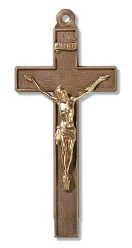 Religious Gifts Bronze Color Plastic Cross with Gold Tone Jesus Christ Corpus 4 Inch Wall Crucifix