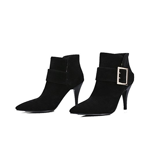 AgooLar Suede Black Imitated Closed Pointed Women's High Boots Pull on Ankle Heels Toe high grZ6xgwz