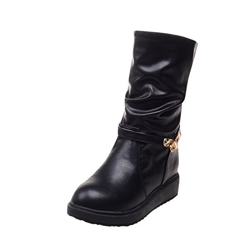 Mee Shoes Womens Sweet Mid-calf Inside-heel Western Boots Black JUogm7