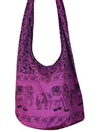 (Hippie Elephant Sling Crossbody Bag Shoulder Bag Purse Thai Top Zip Handmade New Color : Purple)