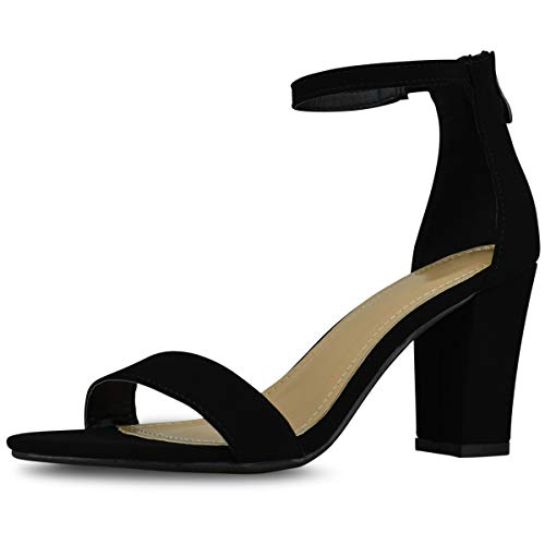 Prime Shoes - Women's Strappy Chunky Block High Heel - Formal, Wedding, Party Simple Classic Pump