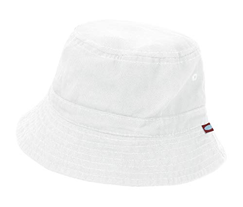 Kids Hat Dyed - City Threads Big Boys' and Girls' Solid Wharf Hat Bucket Hat for Sun Protection SPF Beach Summer - White - XXL(7-12)