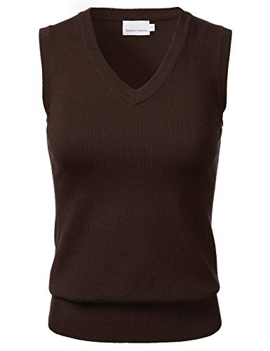 Women's Solid Classic V-Neck Sleeveless Pullover Sweater Vest Top Brown M