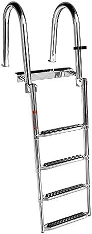 4 Steps Stainless Steel Boat Ladder Folding Docking Ladder Heavy Duty Dock Swim Step Ladder Rear Entry with Up