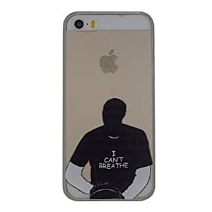 QJM I Can't Breathe Pattern PC Hard Transparent Back Cover Case for iPhone 5/5S
