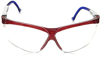 Uvex S3260 Genesis Safety Eyewear, Red/White/Blue Frame, Clear Ultra-Dura Hardcoat Lens