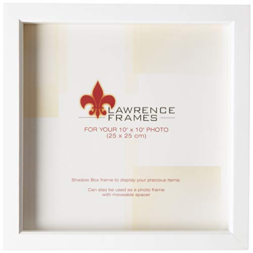 Lawrence Frames 795210 White Wood Treasure Box Shadow Box Picture Frame, 10 by 10-Inch