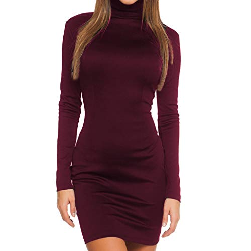 FEITONG Women's Sexy Solid Color Tight Long Sleeve Zipper Tights Slim Dress(Small,Wine Red) -