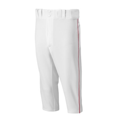 Mizuno Premier Short Piped Pants, White/Red, Large
